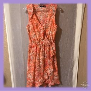 Apt 9 Ruffled Wrap Mottled Print Dress Size Medium